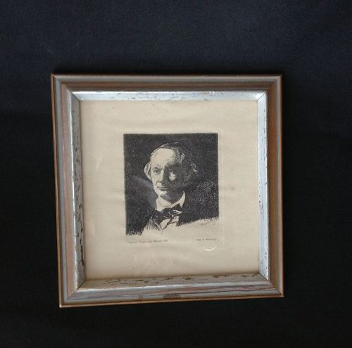 Portrait of Baudelaire, full face III, etching by Manet