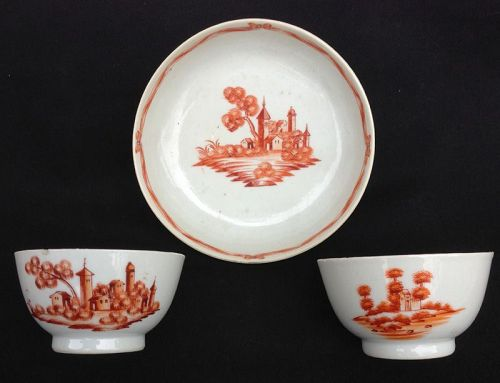 Iron red cups and saucer decorated in European style, c 1800