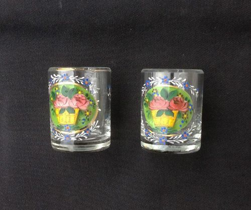 Pair of enameled dram tumblers /whiskey glasses, Bohemian