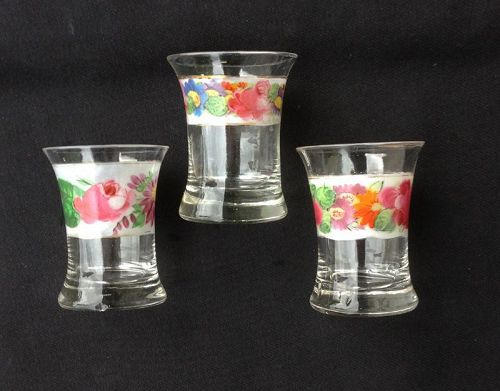 Three enameled dram tumblers /whiskey glasses, Bohemian