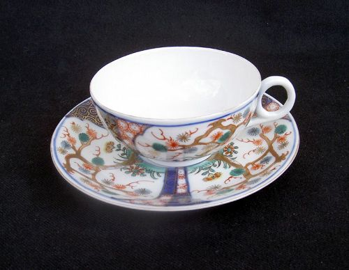 Japanese Imari cup and saucer by Aoki, Arita, c 1920