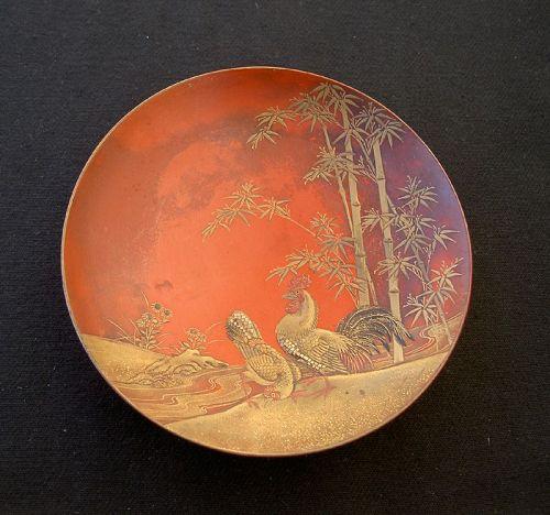 Japanese 19th c lacquer: Edo gold & silver maki-e sake cup / sakazuki