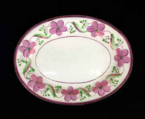 Pink luster / lustreware oval tray, mid-19th century