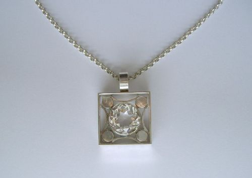 Silver and large rock crystal pendant, Finland, 1970�s