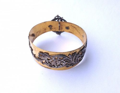 Victorian  gold vermeil and steel  cuff bangle bracelet