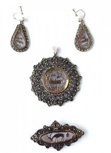 Marcasite, silver and gold parure: earrings, pendant and brooch