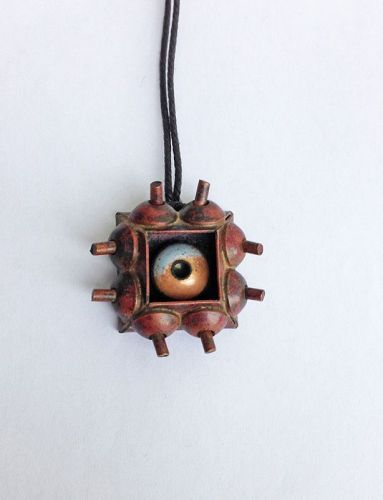Pentti Sarpaneva, Finland: copper & enamel pendant, early 50�s, unique