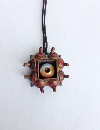 Pentti Sarpaneva, Finland: copper & enamel pendant, early 50's, unique
