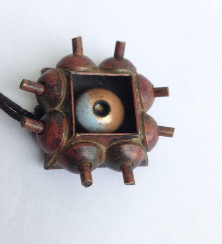 Pentti Sarpaneva, Finland: copper & enamel pendant, early 50�s, unique