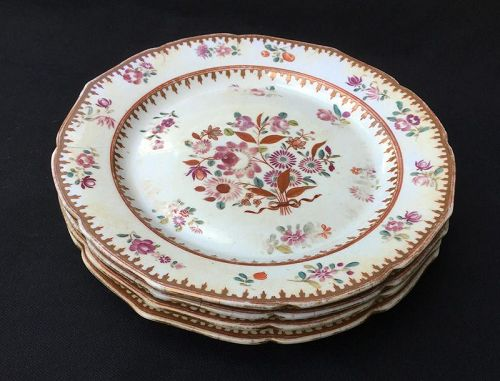 Worcester first period Dr Wall plates, c 1770