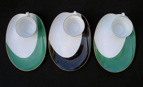 Noritake modernist style cups and trays, 1950�s