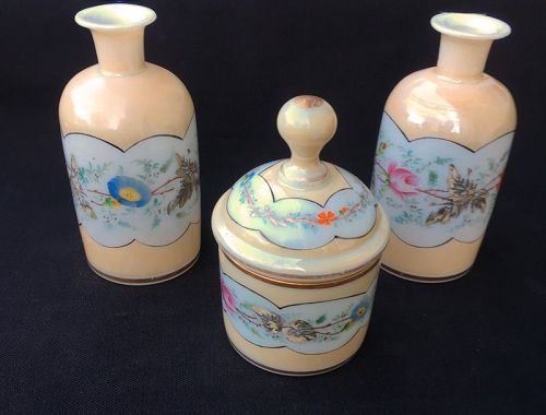 French opaline vanity set