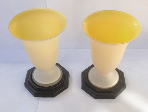 American Deco satin glass vases and stands