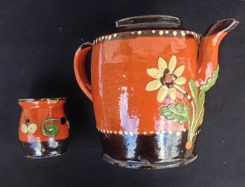 German Marburg pottery, mid-19th folk art earthenware