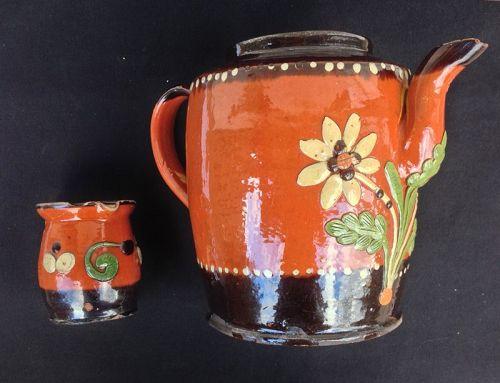 German Marburg pottery, mid-19th folk art earthenware
