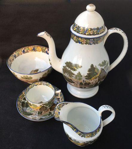 �Salopian� pearlware coffee service, Staffordshire, c1810