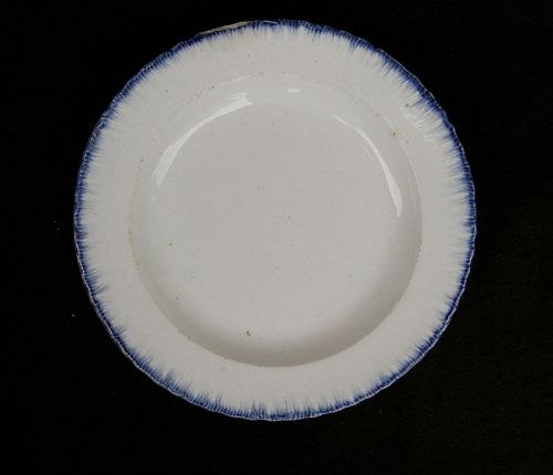Small blue & white shell or feather edge plate, a child�s plate