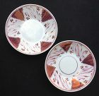 Pair of Staffordshire pearlware pink luster saucer bowls