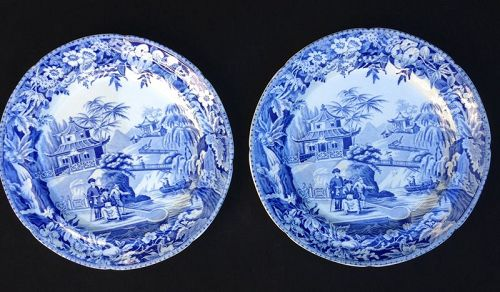 Davenport blue & white plates in the High Bridge pattern, a pair