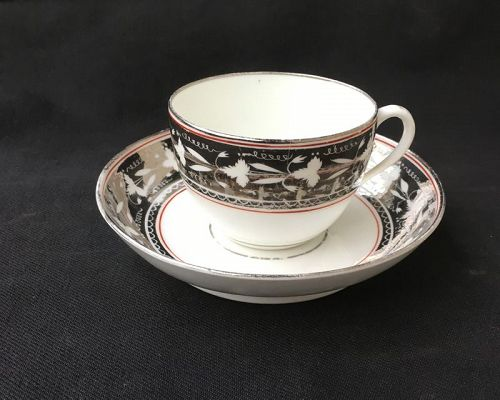 Silver resist /platinum decorated cup and saucer, Staffordshire