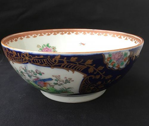 Chinese Export style Famille Rose punch bowl by Samson of Paris