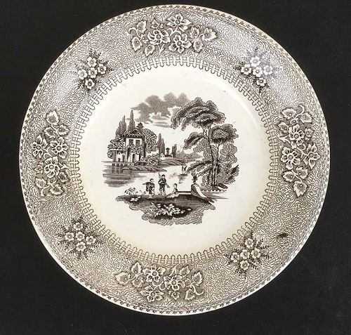 Brown and white transfer printed dinner plate by Carr & Sons