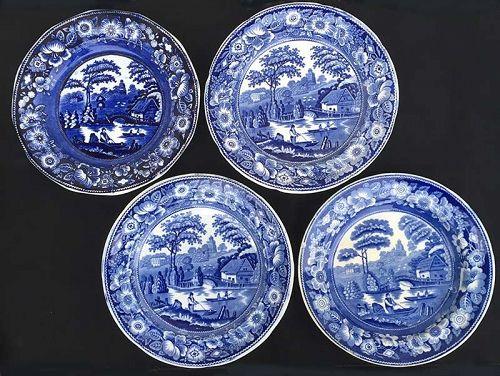 Wild Rose and Nuneham Courtenay, four mid 19th c dinner plates