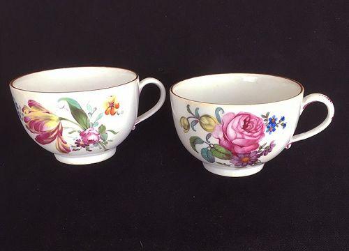 Pair of Höchst / Hochst /Hoechst cups, c 1765