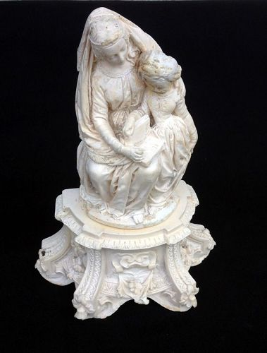 St. Anne and Mary, French plaster of Paris /chalkware sculpture