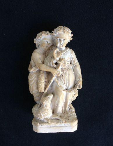 Infants Jesus & John the Baptist, plaster of Paris chalkware sculpture