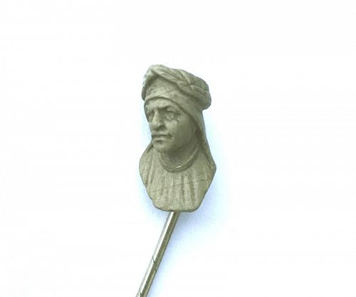 Dante head stick pin, lava carving, Victorian