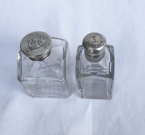 Cut crystal silver lidded scent bottles, 19th century