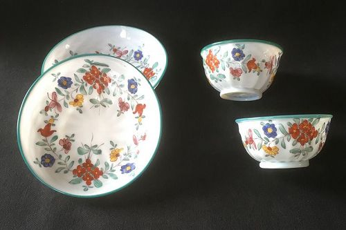 Swiss 18th c Milchglas / milk glass / opaline cups and saucers, a pair