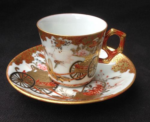 Kutani cups & saucers, late Meiji or Taisho