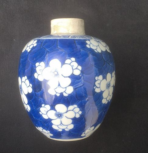Cracked ice and prunus /hawthorn Chinese blue and white jar