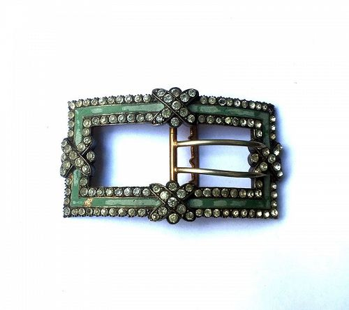 French 18th century shoe buckle, silver gilt /vermeil and paste