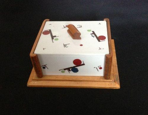 1920's De Stijl / Suprematist style box, opaline and wood