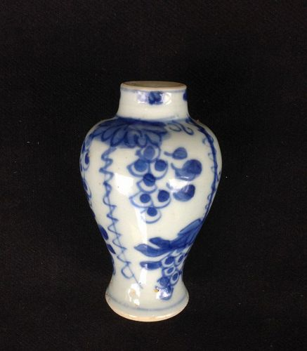 Blue and white miniature vase, early Qianlong