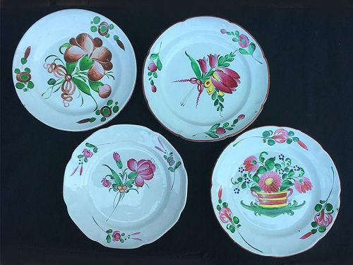 Four French 19th c faience plates from Les Islettes