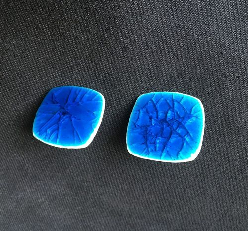 Danish ceramic crackle glaze & silver screw on earrings, Kruger?