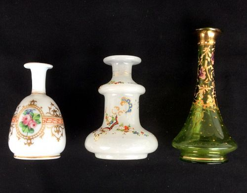 Opaline and green perfume bottles