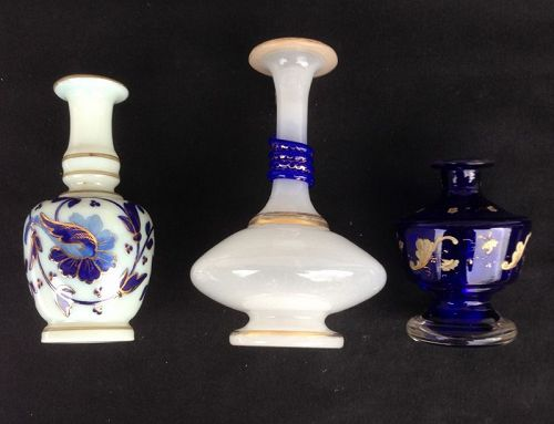 White Opaline and blue perfume bottles