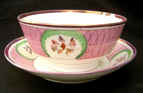 Pink luster and green bowl and stand, Staffordshire c 1840