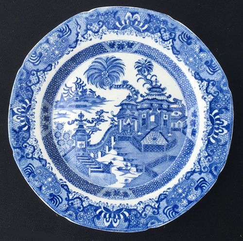 Ridgway �Curbing Palms� pearlware plate, c 1805
