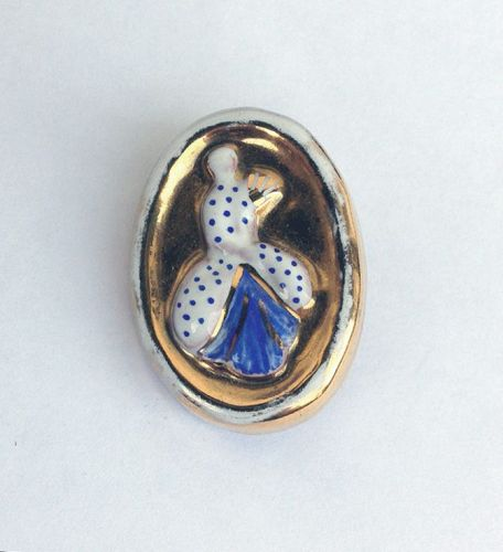 Rococo lady ceramic brooch, signed