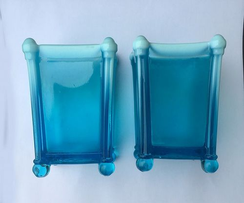 Davidson�s blue Pearline pressed glass vases, 1890�s, a pair