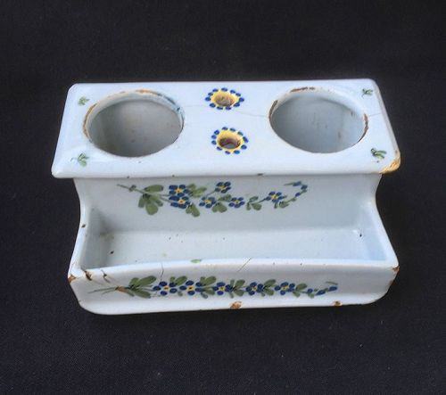 Faience.inkwell / desk set, Rouen; France, late 18th century