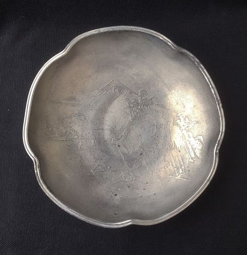Meiji and Fuji etched pewter bowl