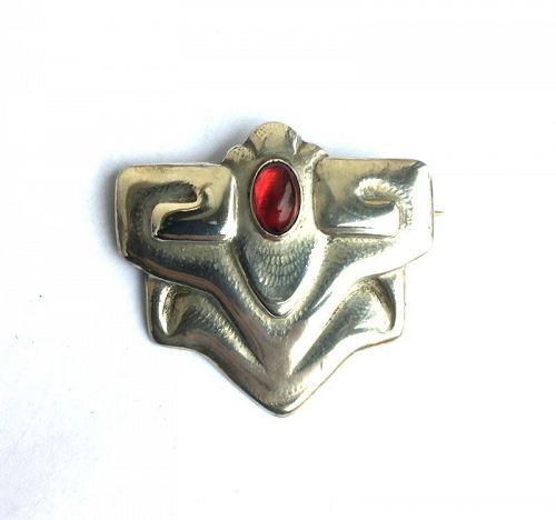C. Sorensen, Copenhagen: Jugendstil silver and garnet brooch