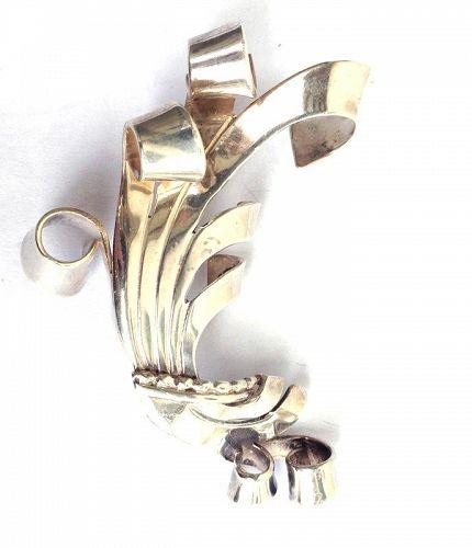 Mexican sterling swirl brooch, Spratling style, 1940�s